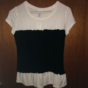 Bar iii black white cinched top size xs
